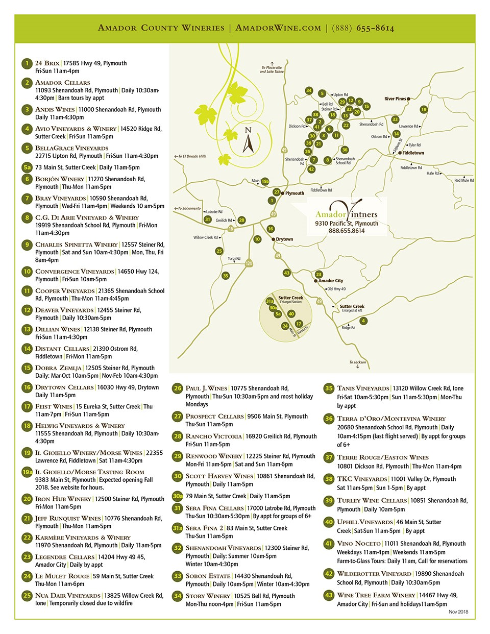 Map Of Texas Wineries.Amador County Wineries A Z List Wine Map